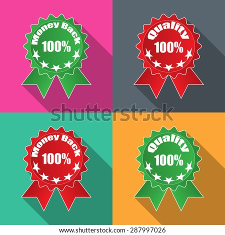 Labels moLabels money back quality in flat on different backgrounds vectorney back quality in flat on different backgrounds