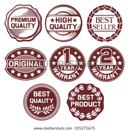 labels set - high quality, best seller, original, one and two year warranty badge
