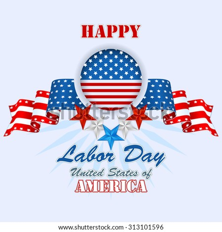 Labor day, abstract computer graphic background with flags and stars; Holidays, layout, template with blue, white and red stars and national flag colors for American Labor Day - stock photo