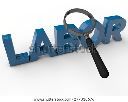 Labor with magnefier over white background - stock photo
