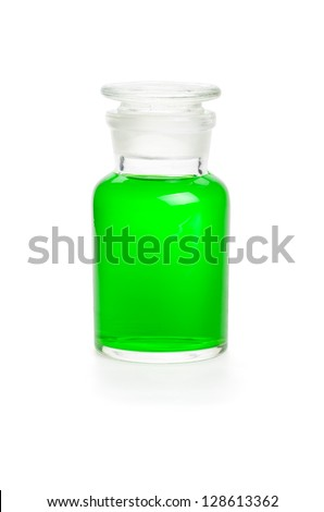 Laboratory bottle filled with green liquid - stock photo