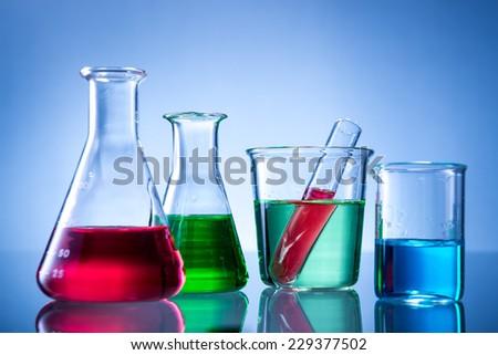 Glass Laboratory Apparatus Color Water Stock Photo 127915121 ...