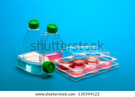 Laboratory equipment for biochemistry testing. Labware dishes and flacks for medical diagnostic. Human cell and blood into scientific laboratory. Lab ware for biomedical analysis. - stock photo