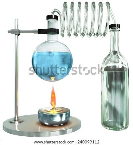 Laboratory glass burner process, 3d render isolated on white - stock photo
