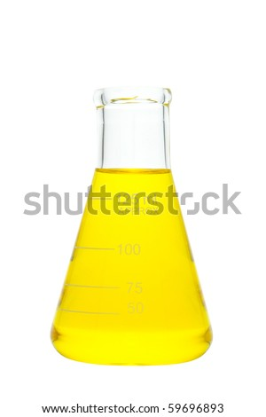 Laboratory glass conical Erlenmeyer flask filled with yellow liquid for an experiment in a science research lab isolated on white - stock photo