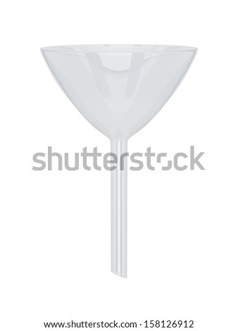 Laboratory glass funnel isolated on a white background