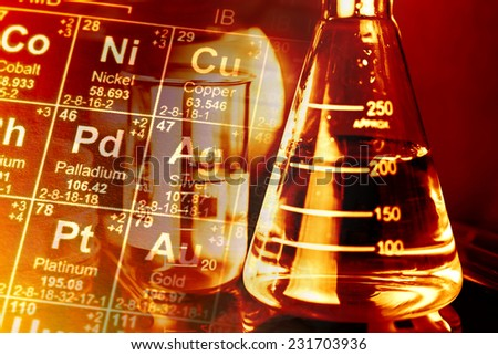 Laboratory glassware and periodic table of elements. Science con - stock photo