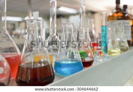 Laboratory glassware equipment for experiment in a science research lab st university - stock photo