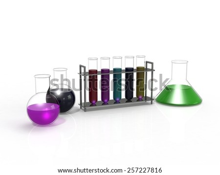 laboratory glassware equipment ready for an experiment - stock photo