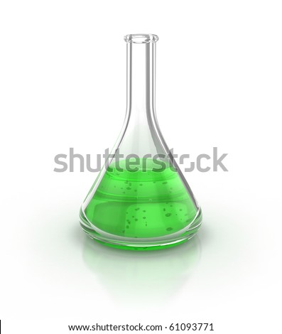 Laboratory glassware filed with green liquid over the white background 3d illustration