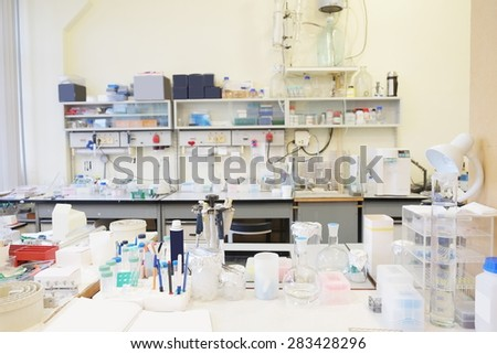Laboratory glassware in chemical-biological laboratory equipment  - stock photo
