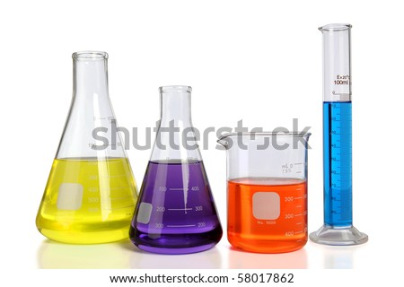 Laboratory glassware over white background with table reflections - With clipping path - stock photo