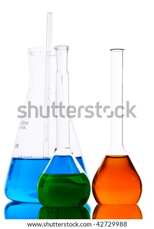 Laboratory glassware with analyzing liquid isolated over white background - stock photo