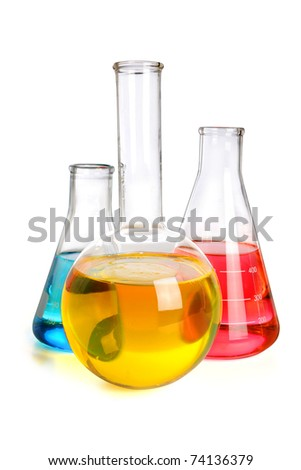 Laboratory glassware with fluids of different colors over white background -  With Clipping Path - stock photo