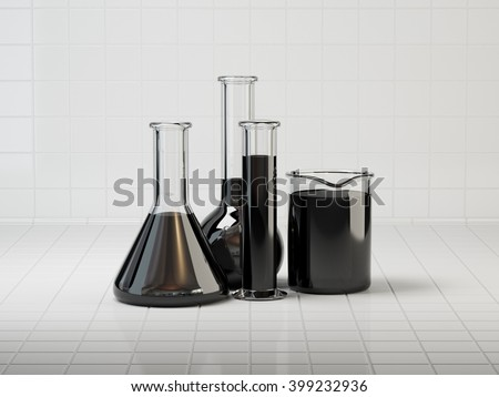 Laboratory glassware with oil on lab table. Tiles background. 3D illustration