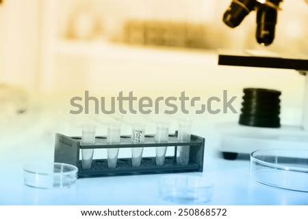 Laboratory microscope lens.modern microscopes in a lab - stock photo
