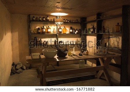 laboratory of old alchemist laboratory - inside view - stock photo