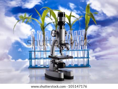 Laboratory  on sky background - stock photo