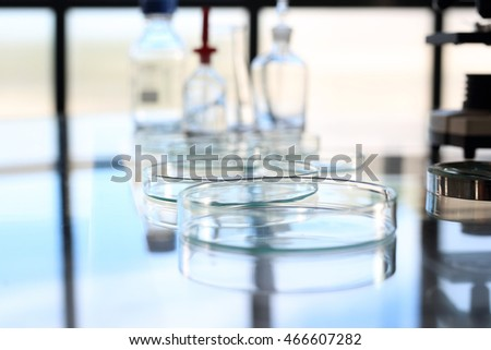 Laboratory. Reagents  and glassware for chemical testing
