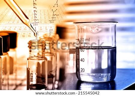 Laboratory research, laboratory glassware  - stock photo