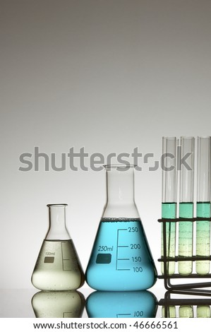 laboratory two flasks and test tubes in a rack