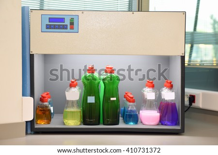 Laboratory with chemical substances. - stock photo
