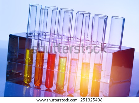 Laboratory with liquids of different - stock photo