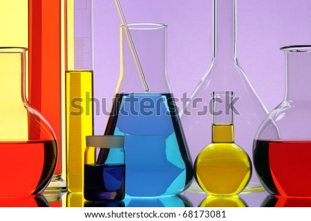 Laboratory with the equipment for the chemical analysis - stock photo