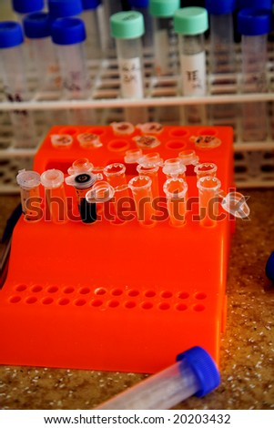laboratory workplace for biotechnology investigation. DNA analyze - stock photo