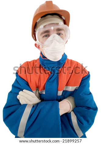 Laborer in helmet and respirator on a white background