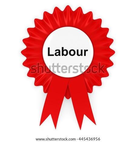 Labour Party Rosette Badge 3D Illustration - stock photo
