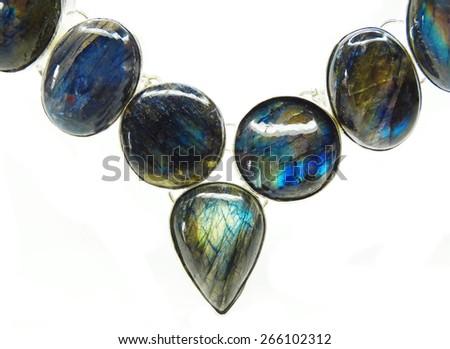labradore semigem beads isolated on white background - stock photo