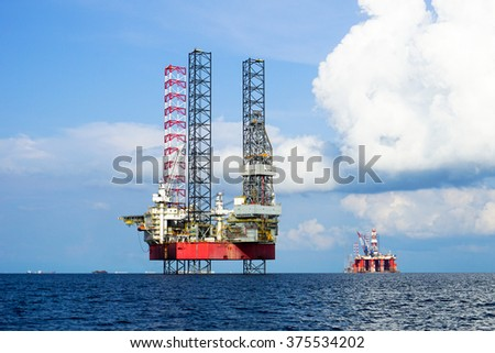 LABUAN FT, MALAYSIA - Sept 9, 2014.The Shelf Explorer jackup drilling rig is being converted into the Labuan sea. Oil and Rig industry in Labuan FT is going slowly due to economic global crisis.