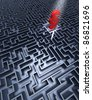 Labyrinth and paragraph Labyrinth in grey with a red paragraph in the center - stock photo