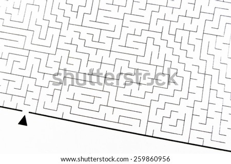 Labyrinth as problem solving (textured with rough paper) - stock photo