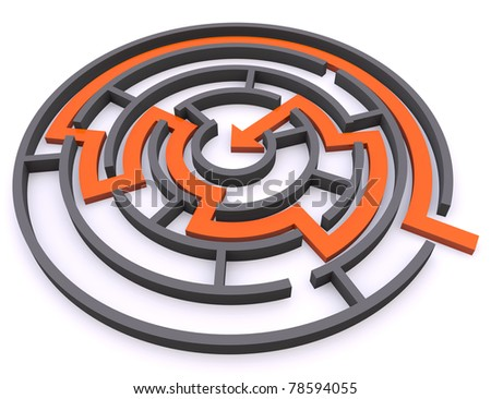 Labyrinth. Finding the solution concept - stock photo