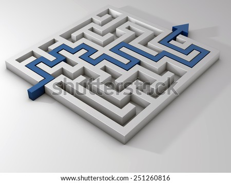 labyrinth maze 3d blue grey - stock photo