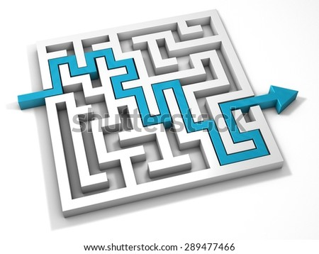 Labyrinth maze 3d blue turquoise - stock photo
