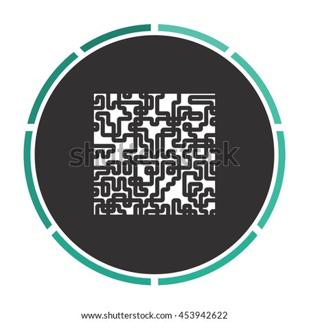 Labyrinth Puzzle rebus. White circle button on black background - stock photo