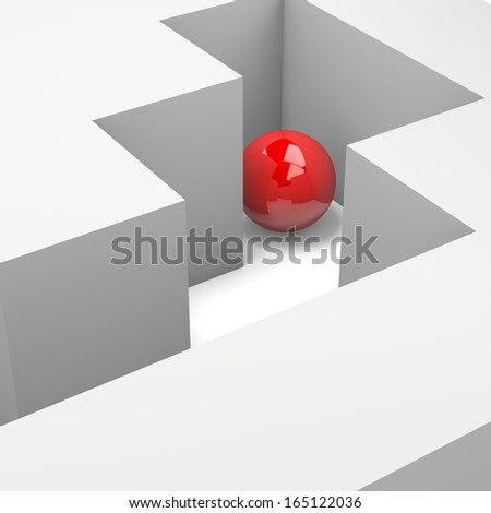 Labyrinth with a Red Ball 3D Illustration Wrong Way Concept - stock photo