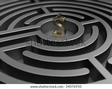 labyrinth with dollar - stock photo