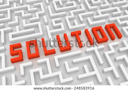 Labyrinth with word solution - stock photo