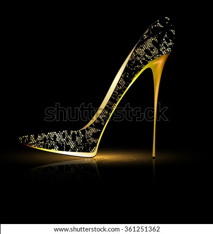 lace black shoe - stock photo