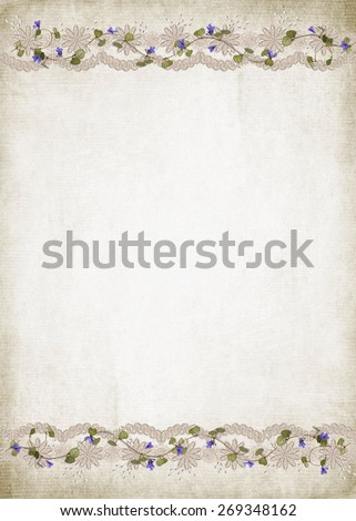 lace border with ivy and pearls on soft sepia textured background - stock photo