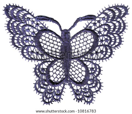 lace butterfly isolated on white background - stock photo