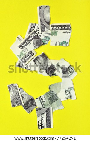 Lacerated banknote looking as dollar sign - stock photo