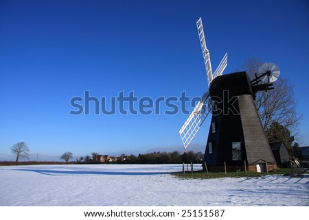 Lacey Green Windmill in the Buckinghamshire Chilterns UK photographed on a cold clear blue sky winters day. - stock photo