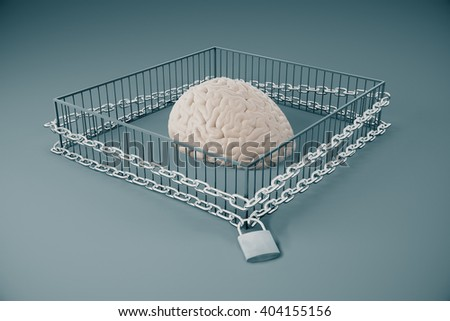 Lack of free thinking concept with brain locked in cage with chains on grey background. 3D Rendering - stock photo