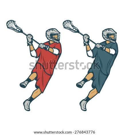 Lacrosse player in shooting pose isolated on white background - stock photo