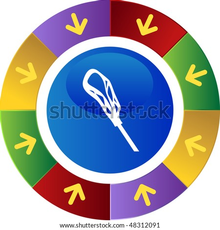 Lacrosse stick icon button isolated on a background.
